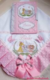 Manta para bebê e capa de caderneta de vacina