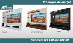 painel para televisão na cor preta/canela/branco