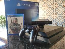 Playstation 4 FAT na caixa + PS4 Camera + The Witcher 3