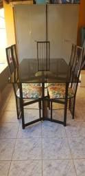 Mesa com 6 cadeiras - Blindex e Aço