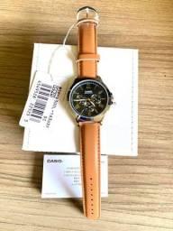 Relógio Casio MTP-V300L-1A3 Original Novo Multifunção pulseira em Couro(aceito cartão )