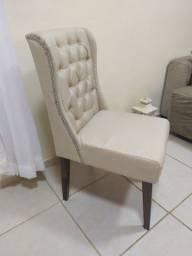 Cadeira estofada luxo, Captonê em linho.