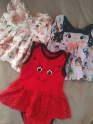 KIT 2 vestidos e um body infantil menina.