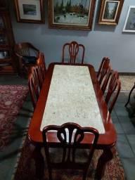 Mesa 6 lugares madeira + mármore