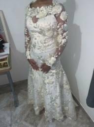 Vestido de noiva sereia areia