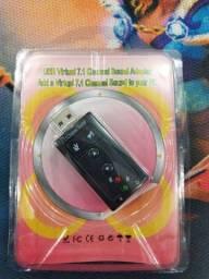 Placa De Som Usb 7.1 Adaptador Audio P2 P3 Pc Notebook<br><br>