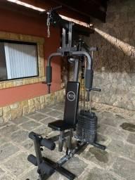 Estação de musculação com 80kg de peso + 2 pegadores inclusos