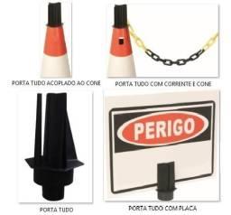 Kit cone pvc+placa+suporte