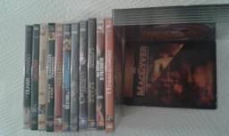 10 dvds de filmes e um album com 6 dvds do mcgyver originas