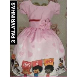 Vestido Temático Infantil 3 Palavrinhas 1 ano *modelo Simples*