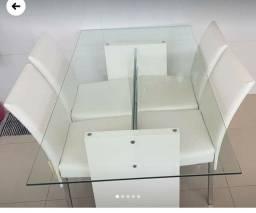 Mesa vidro 4 cadeiras comprada tok stok