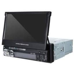 """Rádio MP5 Retrátil GPS Espelhamento de celular Bluetooth e Tela de 7"""" Full HD<br>"""