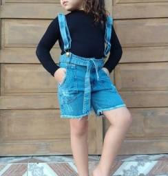 PROMOÇÃO Shortinhos (Jardineira) Jeans 100% Algodão - Tamanho 06 anos<br>