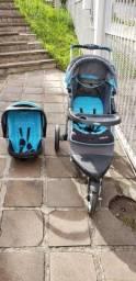 Carrinho de bebê INFANTI 3 rodas COM BEBÊ CONFORTO - Azul, preto e cinza<br><br>