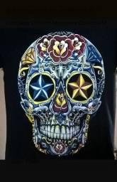 Camiseta Caveira Mexicana Flores M  Preto