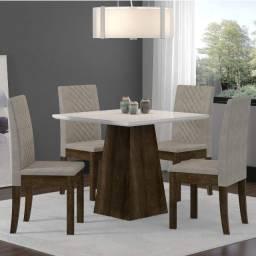 Conjunto de Mesa Cristal com 4 Cadeiras