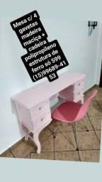 Kit mesa madeira maciça c/ gavetas + cadeira c/ estrutura aço inox