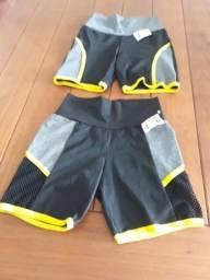 um conjunto suplex tamanho M mais dois shorts tamanho M para academia.
