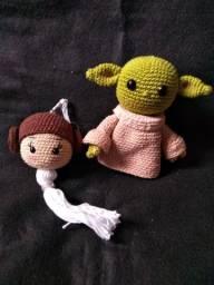 Kit Mestre Yoda e Chaveiro Princesa Leia