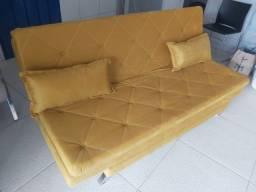 Sofá cama retrátil, amarelo, preto e azul. Apenas 1399,99 em até 12x cartão