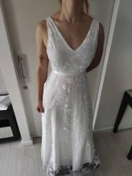 Vestido Noiva Chic Evasê Decote Costas Aberta Tam. 36 (Novo)