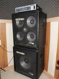 Cabeçote Hartke Modelo HA 2500 para Contrabaixo + Caixas Acústicas Meteoro
