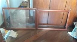 2 quadros em madeira mogno com vidros