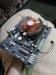 Placa mãe+ processador+ memoria ram e cooler com led azul