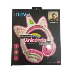 Fone de Ouvido Unicornio Inova Led fon-8524 ROSA