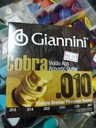 Corda 010 Giannini violão de aço