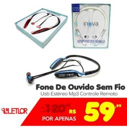 Inova Fone De Ouvido Sem Fio Usb Estéreo Mp3 FON-2091D