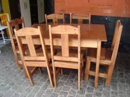 mesa madeira 06 cadeiras nova