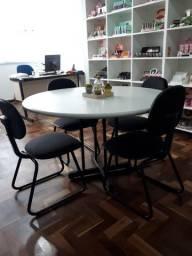 Mesa reunião, redonda com 4 cadeiras