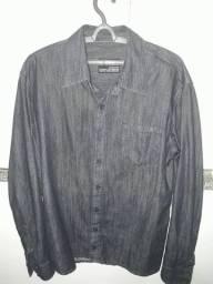 Camisa masculina jeans manga longa tamanho P