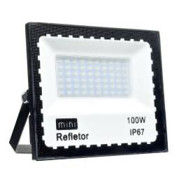 Refletor Led 100w Holofote Bivolt Prova Dágua Ip66 Frio Novo