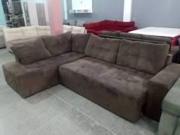 Sofa retrátil com chaise higienizado