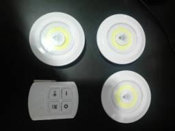 Kit 3 lampadas luminarias led com controle sem fio semi novo