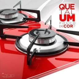 FOGÃO COOKTOP 4 BOCAS VIDRO VERMELHO SAFANELLI <br>