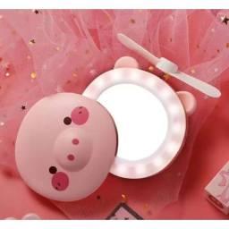 3-IN-1 LED+Mini Fan+Maquiagem Espelho Cosmético Bonito Mini Handheld Refrigeração