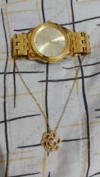 Conjunto relógio e colar