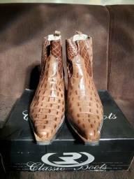 Bota texana bico fino masculina em couro legítimo estampa jacaré (café) e anaconda (preto)
