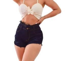 Kit 3 shorts femininos cintura alta lycra
