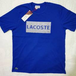 Camiseta Lacoste Azul Estampada - Nova - Importada