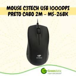Mouse Ótico C3 Tech Ms-20Bk Preto Usb