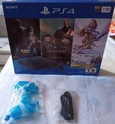 PS4 Slim 1 TB + controle Novo + 4 Jogos