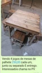 Vendo mesas de madeira com bancos