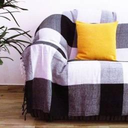 Manta para sofá tipo capa de sofá 2,40x1,80 preto xadrez