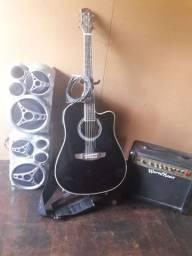 Vendo cubo violão 6 corda pedestal alça cabo e 2 caixa de som