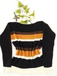 Blusa de Frio Listrada Feminina em Tricô - Tam. M