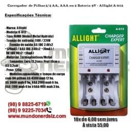 Carregador de Pilhas 2/4 AA, AAA ou 2 Bateria 9V - Allight A-612 em são luís ma